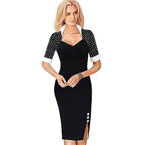 COCO clothing Elegant Femmes Patchwork Polka Dots Courte ManchesCol Roulé