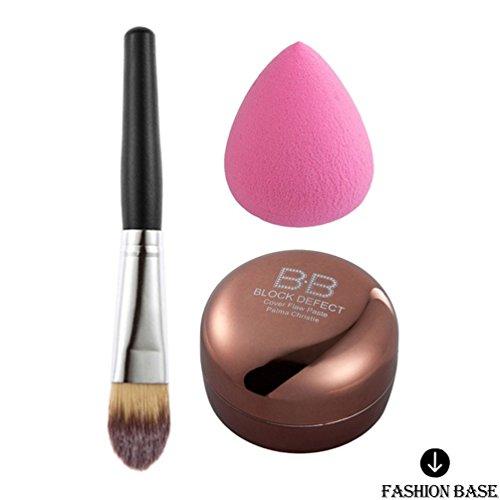 Fashion Base® Ensemble de maquillage Combo Crème visage Camouflage Correcteur + pinceau à fond de teint Gouttes Puff Noir sur toile Pouch cosmétiques kit