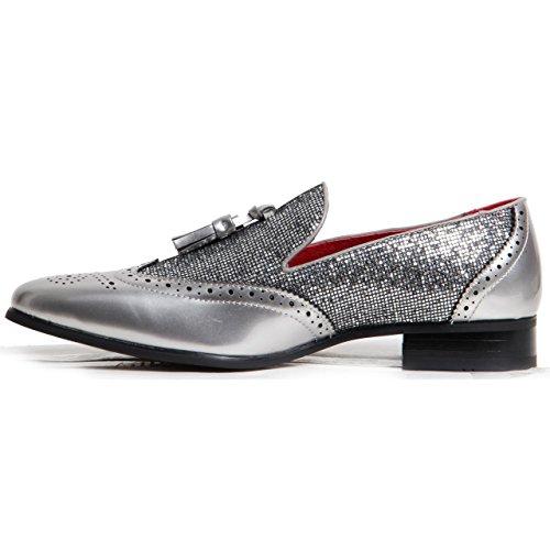 Mocassins Doublure En Cuir À Enfiler Cintillant Brogued Chaussures Homme Vêtement De Soirée Argent
