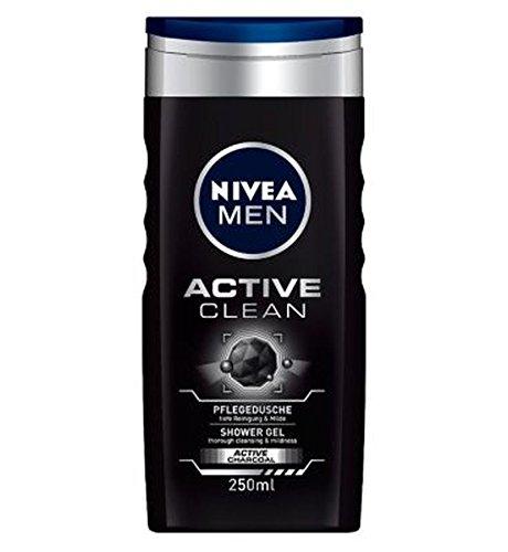 NiveaLos Hombres Activa Gel De Ducha Limpia De 250 ml (Paquete de 2)