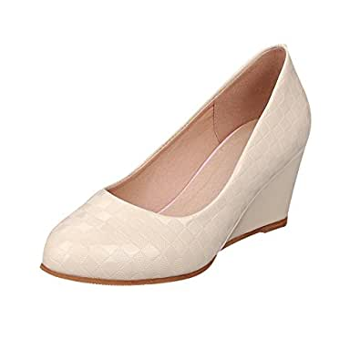 Carolbar Women's Stylish Charm Wedge High Heel Concise Court Shoes (6.5, Beige)
