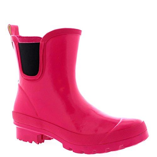 Damen Classic Chelsea Gloss Wohnung Garten Festival Welly Schuhe Stiefel Dunkelheit Fushia