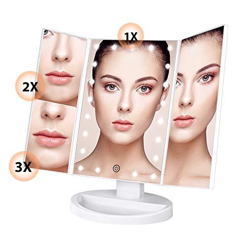 *SoataSoa Kosmetikspiegel, Schminkspiegel,Make-up-Spiegel 3 Seiten kosmetikspiegel mit Beleuchtung mit 22 LED Faltbarer standspiegel 180 Grad einstellbar Make up led Spiegel 1X 2X 3X (Frauen Geschenk)*