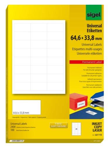 Preisvergleich Produktbild Sigel LA115 Universal-Etiketten weiß, 64,6 x 33,8 mm, 2400 Etiketten = 100 Blatt
