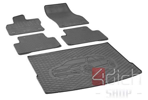 Passgenaue Kofferraumwanne und Gummifußmatten geeignet für VW Tiguan ab 2016 - EIN Satz