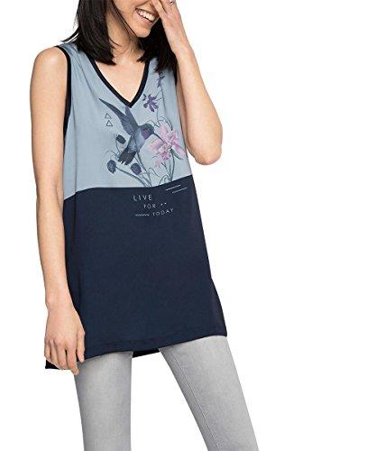 edc by Esprit 056cc1k022-Materialmix, Débardeur Femme Bleu (NAVY 400)