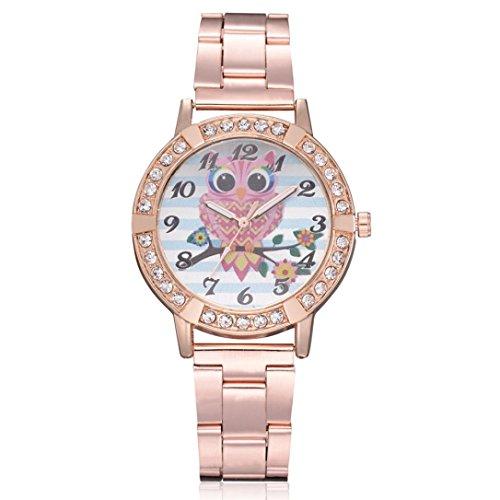 MäDchen  Armband  Uhr, Huihong SüßE Eule Drucken Rose Gold Vergoldet Armbanduhr Frauen Elegante Strass Mode Uhr FüR Frauen Geschenk  Geburtstag  Geschenk (Rose Gold) (Aussehendes Süß Mädchen)