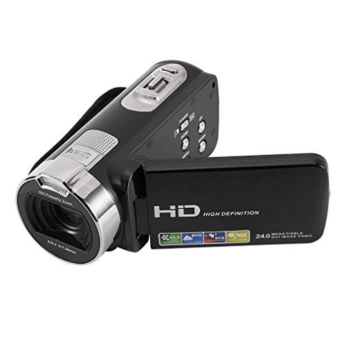 Hochauflösender digitaler Camcorder Footprintse FULL HD 1920 * 1080P Digitale Videokamera DV Max 24,0 Megapixel 3,0 Zoll TFT-LCD Touchscreen Unterstützt 270 ° Drehung mit optischem Zoom 16x