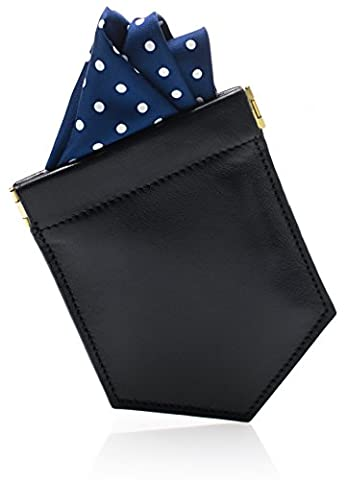 Luxury Pocket Square Holder & Men's Fashion Accessory to Hold the Handkerchief Fold - Slim Black Leather Design - Fits all Handkerchiefs & Suit Jackets - Great Gift