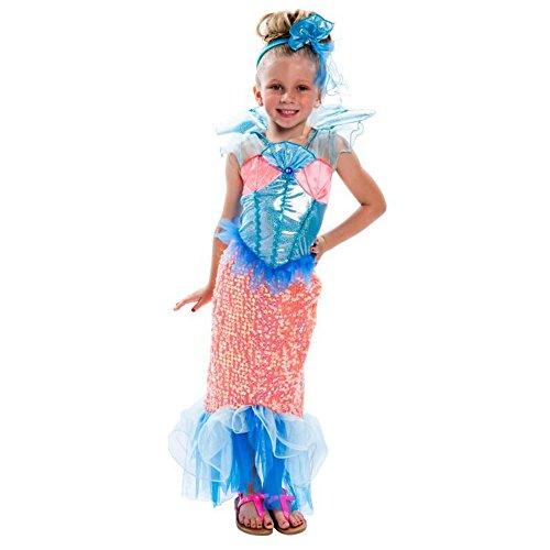 kleine Meerjungfrau Mermaid Kinder Mädchen Halloween Fasching Karneval Kostüm (104-116)