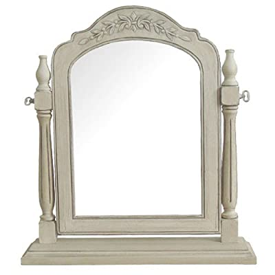 Beautiful Carved Cream Freestanding Dressing table mirror - Tilts French Cream with carved flower detail - Distressed Vintage Look - Tilting for best angle