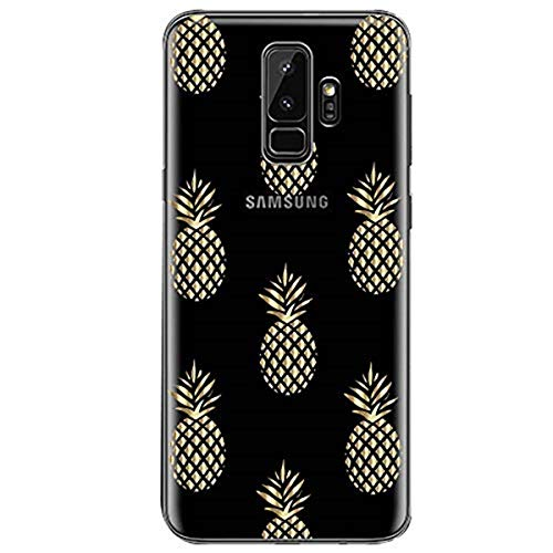 kompatibel mit galaxy S9/S9 Plus Weiche Hülle Transparente TPU Silikon für Damen/Mädchen Durchsichtig mit hellen Blumen und Pflanze Handyhülle Silikon Hülle(Samsung galaxy S9, Color-F)