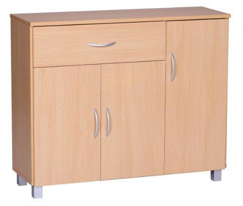 FineBuy Sideboard JERRY Buche mit 1 Schublade & 3 Türen 90 x 75 x 30 cm | Design Kommode aus Holz | Anrichte Flur-Schrank mit Griffen