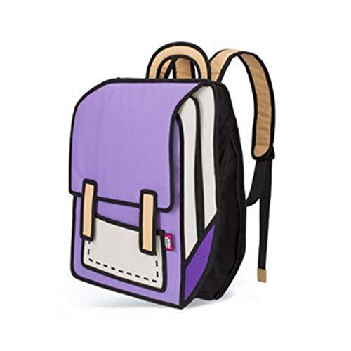 Student Taschen Frauen Rucksack Springen Stil Zeichnung Karikatur Zurück Tasche Comic Unisex Rucksack, C ()