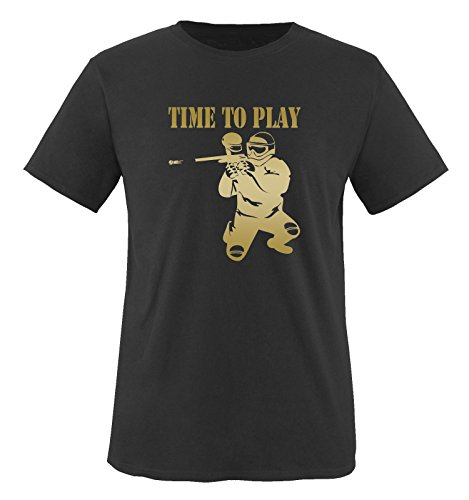 TIME TO PLAY - PAINTBALL - Herren Unisex T-Shirt Schwarz / Gold