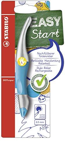 Ergonomischer Tintenroller für Linkshänder - STABILO EASYoriginal metallic in neonblau - Schreibfarbe blau (löschbar) - inklusive Patrone