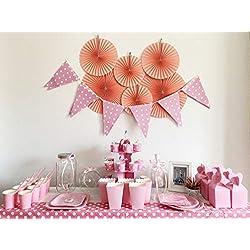 Kit de Fiesta Completo: Muchas Ideas+Articulos de Mesa de Dulce+Vajillas desechables+Cajas de Regalos+Decoración para Primera Comunión Niña,Bautizo y Cumpleaños (para 16 invitados, Paquete de lujo)