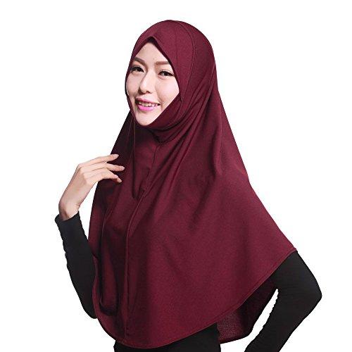 Muslim Damen Strecken Turban Hut Hals Chemo Kappe Haar Kopftuch Islamischen Abaya Dubai Frauen Elegante Gesichtsschleier Hidschab Schal Ramadan Kopfbedeckung Hijab (Wein)