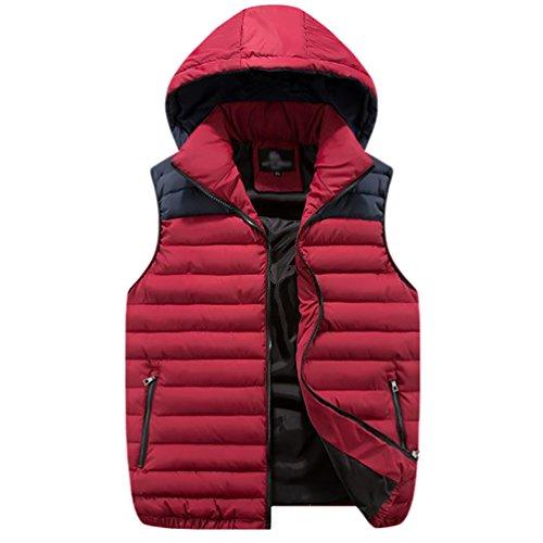 YouPue Hiver à Capuche Homme Veste Encapuchonné Zip Up Sans Manche Jacket Gilet Rouge