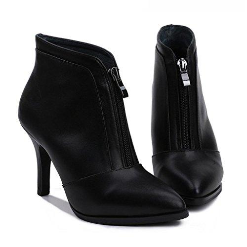 Ladies Ladies 'zip Bottes Suggestion Avec Bottes Mince Femme Talons Hauts, Noir, 33 Noir-34