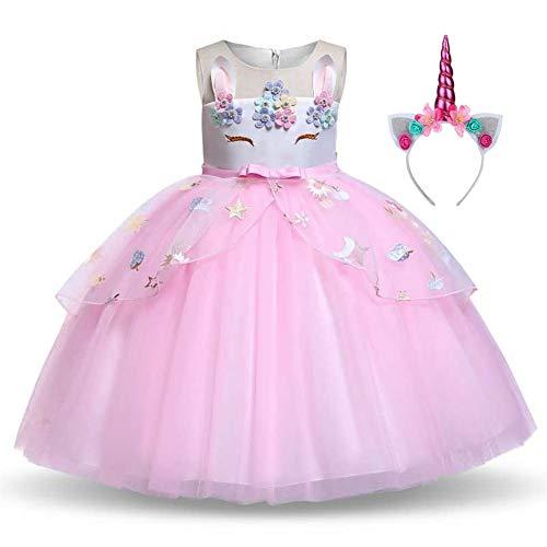 Disfraz Unicornio Niña, Vestidos Unicornio niña, Fiesta de Cosplay, Boda, Partido,Vestido De Princesa (5-6 Años, 116 cm)