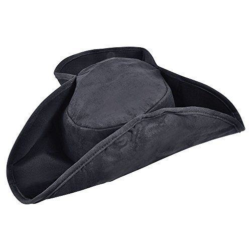 Bristol Novelty bh358Pirat Hat Distressed Schwarz, One (Mantel Und Degen Hut)