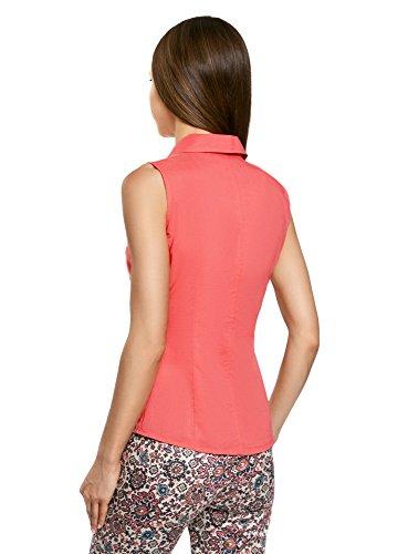 oodji Ultra Damen Ärmellose Bluse Basic Rosa (4D00N)