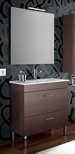 Yellowshop - mobile mobiletto da bagno in legno cm 80 completo di lavabo in porcellana e specchiera arredo moderno modello almagro 800 (wengé)