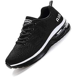 SMARTEN Air Zapatillas de Running,Hombre Mujer Calzado Deportivo Ligero y Transpirable Asfalto Zapatos para Correr Antideslizante Sneakers Negro, Blanco, Amarillo, Azul, Rosa Black White 39 EU