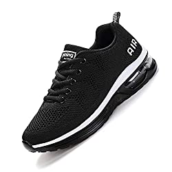 smarten Herren Damen Schuhe Air Laufschuhe mit Luftpolster Sportschuhe Jogging Turnschuhe Unisex Sneaker Dämpfung Black White 39