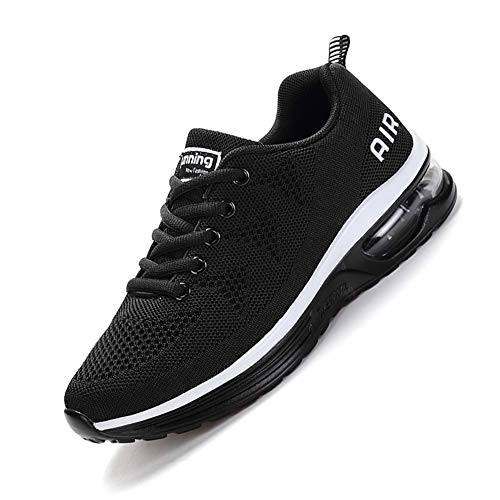 smarten Unisex Uomo Donna Scarpe da Ginnastica Corsa Sportive Fitness Running Sneakers Basse Interior Outdoor Casual all'Aperto Shoes -Molti Colori Black White 40EU
