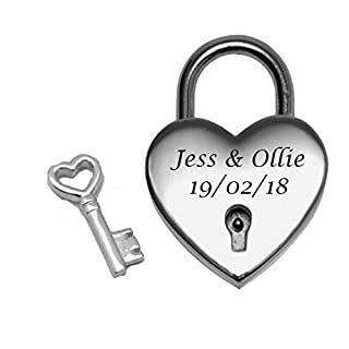 Vincenza Personalised Heart Shape Bridge PadLock Lock, Show Your Love Perfect for Valentines, Wedding Favors, Mothers Day & Gifts Available in 4 colours (Silver)