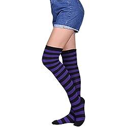 BaZhaHei-Calcetines Calcetines by Mujer Muslo Sexy Mujer Alta Sobre la Rodilla Calcetines Medias largas Calcetines Largos a Rayas de Mujer de High Over The Knee Socks Calcetines calcetín