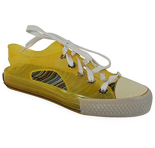 Loudlook Neuen Frauen Damen Flache Klar Fest Gelee Gummistiefel Low Lace Kn?chel Stiefel Schuhe Gr??e 3-8 Yellow
