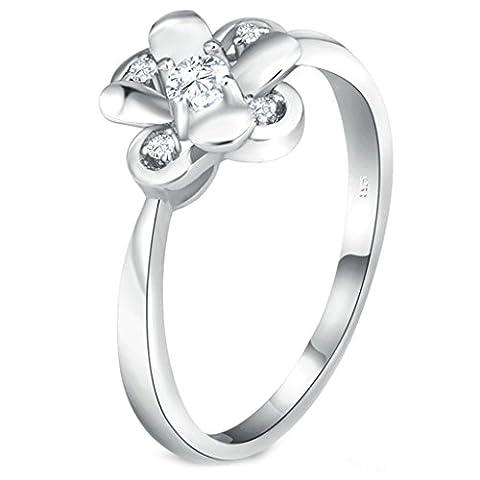 Bishilin S925 Sterling Silber Lab Erstellt Diamant Runde Cut Cubic Zirkonia Blume Ring Für Damen Größe 54 (17.2)