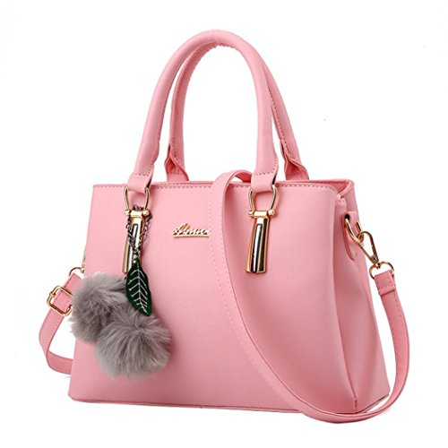 Kangrunmy moda donna capelli palla lichee modello crossbody bag borsa spalla borsa organizer borsa (rosa)