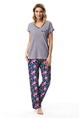 e.FEMME Damen Schlafanzug Sabrina 1953, Kurzarm Shirt und Lange Hose - Grau/Blau - Größe 44 -