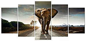 Elephant 5 Panels Modern Giclee Canvas Prints Animals Landscape Artwork Pictures to Photo Paintings on Canvas Wall Art Décor for Living Room Bedroom Home Decorations (No Framed)