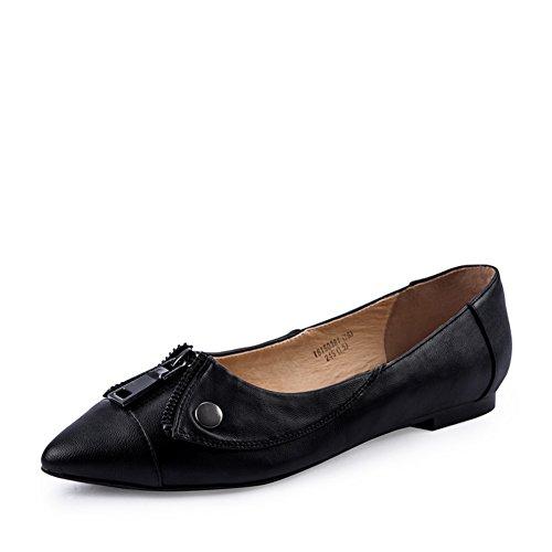 Chaussures de dames de printemps/Casual chaussures avec fermeture à glissière/Pure color/low Chaussures femmes talon B