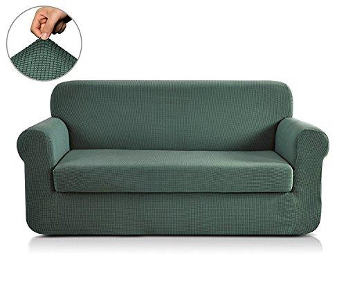 Chun Yi Jacquard-Sofa-Bezüge, zweiteiliger Schonbezug, Polyester/Elasthan-Stoff, Stretch-Schonbezug, Darkcyan, Loveseat