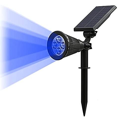 T-SUN LED Solar Spotlights, Blue Led Solar Lights,Super Bright 250LM Outdoor Security Garden Landscape Lamps, Auto-on At Night/Auto-off By Day,180°angle Adjustable for Patio,Tree,Deck,Garden