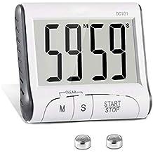 Temporizador de Cocina Digital, Cronómetro Pantalla LCD Temporizador de Cocción con Alarma Sonora Panel Trasero