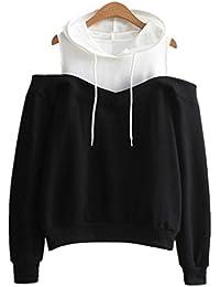 a946f2090a5a Amlaiworld Sweatshirts Herbst Frauen Bunt Tr gerlos Kapuzenpulli Damen Warm  Sweatshirt Sport Bluse Mode Flickwerk
