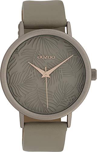 Oozoo Damenuhr mit Blätter Palmen Muster Zifferblatt und Lederband 42 MM Taupe/Taupe/Taupe C10082
