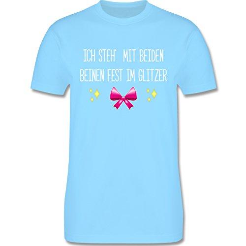 Statement Shirts - Ich steh' mit beiden Beinen fest im Glitzer - Herren Premium T-Shirt Hellblau
