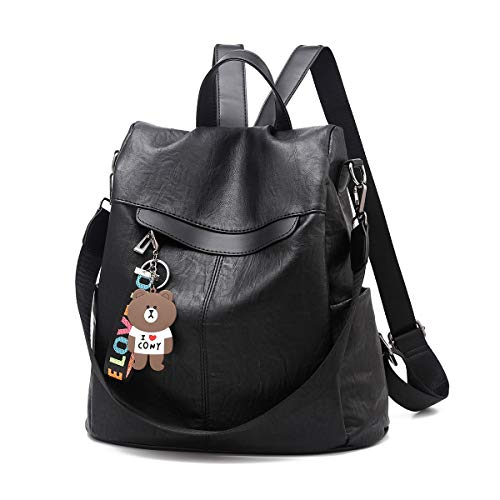 Purse Rucksack Women Waterproof Shoulder Casual Pu School black Pu Anti Backpack Lightweight Leather Bag Theft OPZuTXki