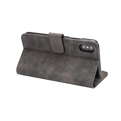 Wkae Schaf-Stab-Material PU + PC-horizontaler Schlag-Leder-schützender Fall mit Halter u. Kartenschlitzen u. Mappe u. Foto-Rahmen, für iPhone X ( Color : Dark blue ) Black