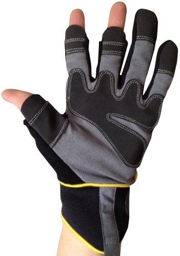 Fingerlose Handschuhe - Arbeiten, Elektriker, Bauherren, Installateure, DIY und Allgemeine Arbeitskleidung. (Extra groß EU 11)