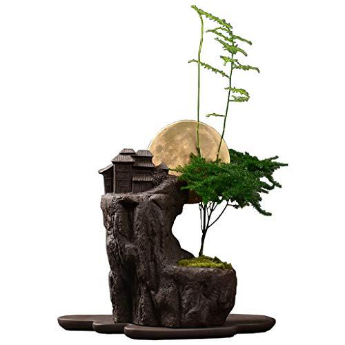 Kreativer eingemachter Bonsais-Antiken-purpurroter Sand-Blumen-Topf-Innenschreibtisch-Persönlichkeits-Grünpflanze-große Breathable Blume mit Behälter (Farbe : C)