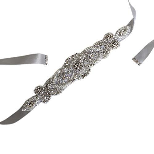 Exing Schleifenband für Hochzeitsgürtel, Strass, Satinband, Hochzeitskleid aus Spitze grau